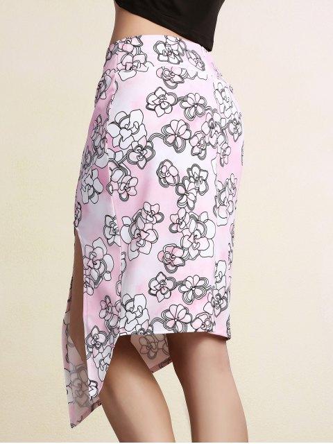 unique Printed Pencil Slit Skirt - PINK XL Mobile