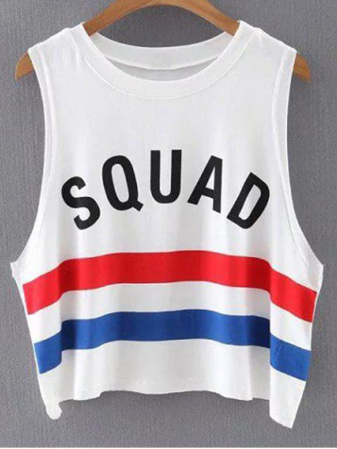new Letter Round Neck Stripe Tank Top - COLORMIX M Mobile