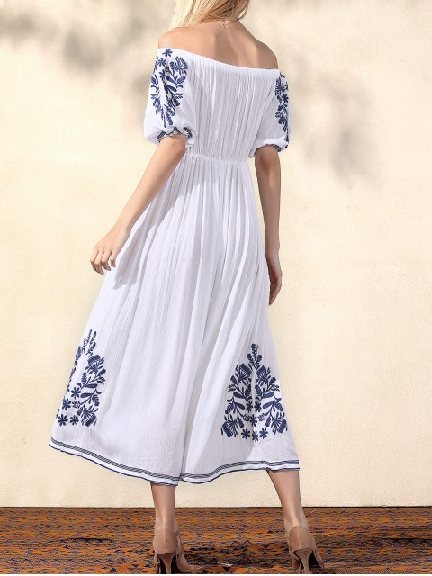 new Embroidery Off The Shoulder Half Sleeve Dress - WHITE L Mobile