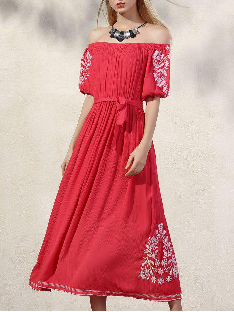 shop Embroidery Off The Shoulder Half Sleeve Dress - ORANGE RED M Mobile