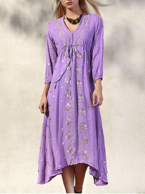 latest High Waisted V-Neck 3/4 Sleeve Embroidery Dress -   Mobile