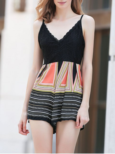 women Lace Top Printed Romper - COLORMIX M Mobile