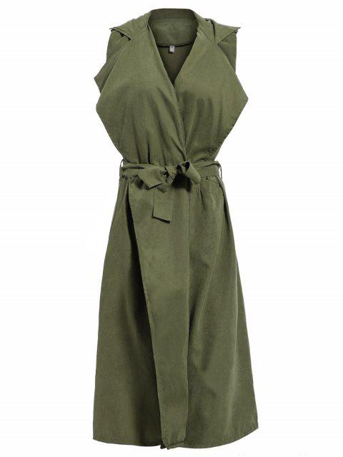 lady Lapel Belted Overlay Waistcoat - ARMY GREEN S Mobile