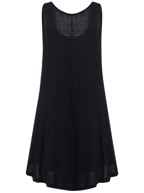 fancy Irregular Hem Scoop Neck Sundress - BLACK S Mobile