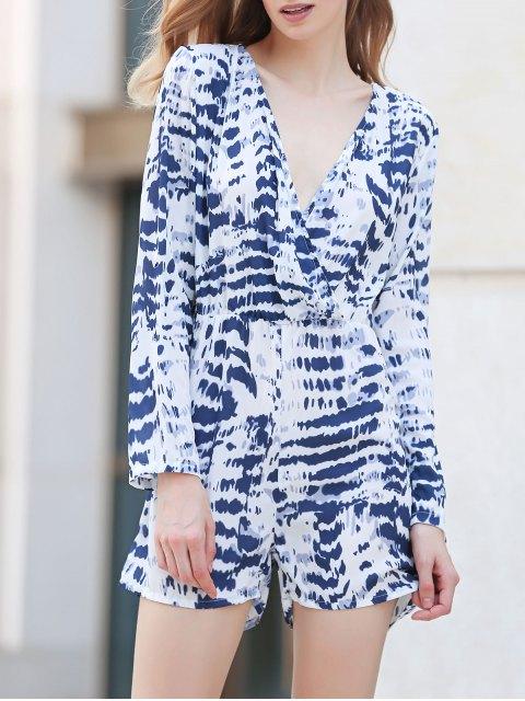 combinaison à manches longues à col V tie dye - Blanc XL Mobile