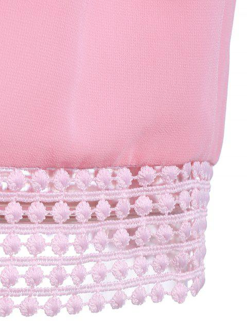 outfit Pink Chiffon Round Neck Sleeveless Tank Top - PINK XL Mobile