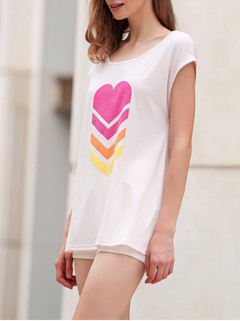 trendy Heart Print Scoop Neck Short Sleeve T-Shirt - SHALLOW PINK M Mobile