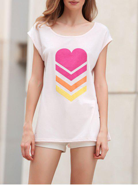 chic Heart Print Scoop Neck Short Sleeve T-Shirt - SHALLOW PINK XL Mobile