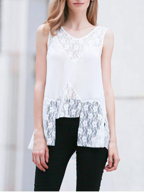 Encaje de empalme cuello en V sin mangas de la blusa blanca - Blanco XL Mobile