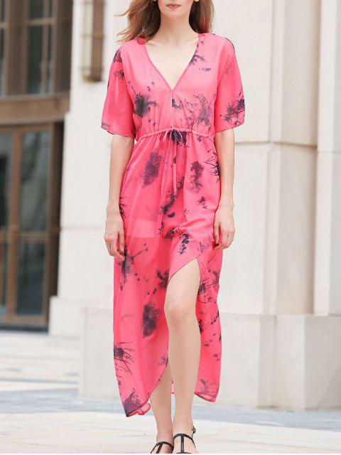fashion Flouncy Sleeve High Furcal Chiffon Dress - RED L Mobile