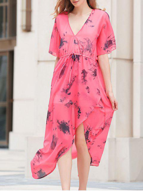trendy Flouncy Sleeve High Furcal Chiffon Dress -   Mobile