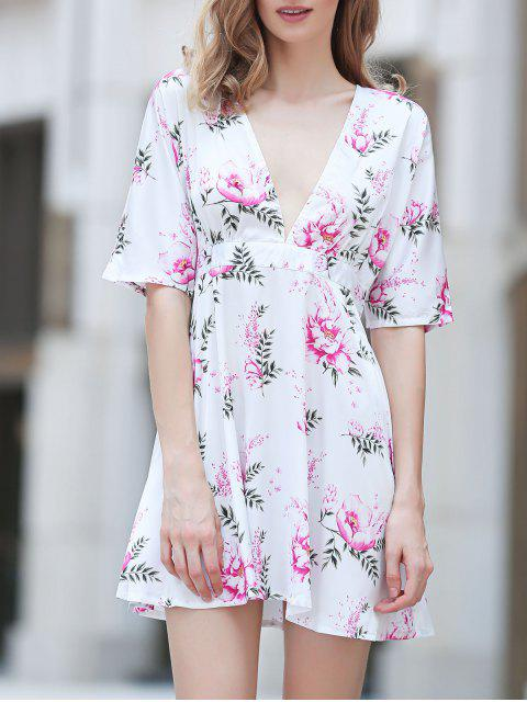 affordable Flower Print Plunging Neck Half Sleeve Dress - COLORMIX L Mobile