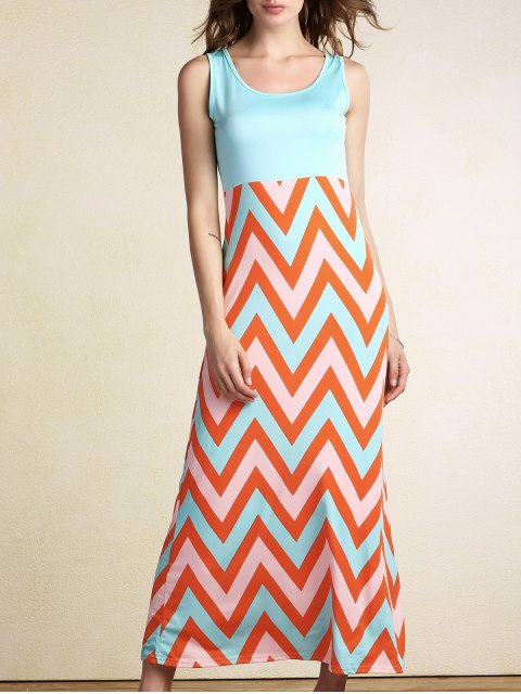 Zig Zag Splice U Hals Ärmelloses Maxi Kleid - orange  M Mobile