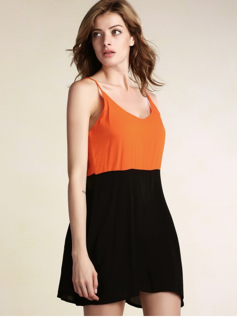 lady Color Block Backless Cami Sleeveless Dress - BLACK M Mobile