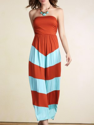Stripe Bandeau Color Block Maxi Dress - Orange M