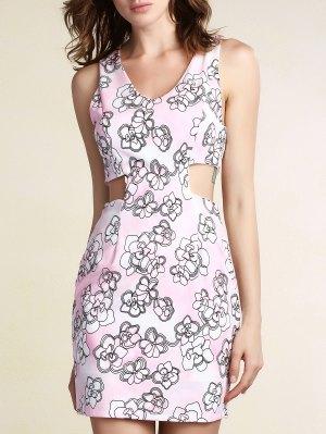 Cut-out Impreso Vestido Ajustado - Rosa M