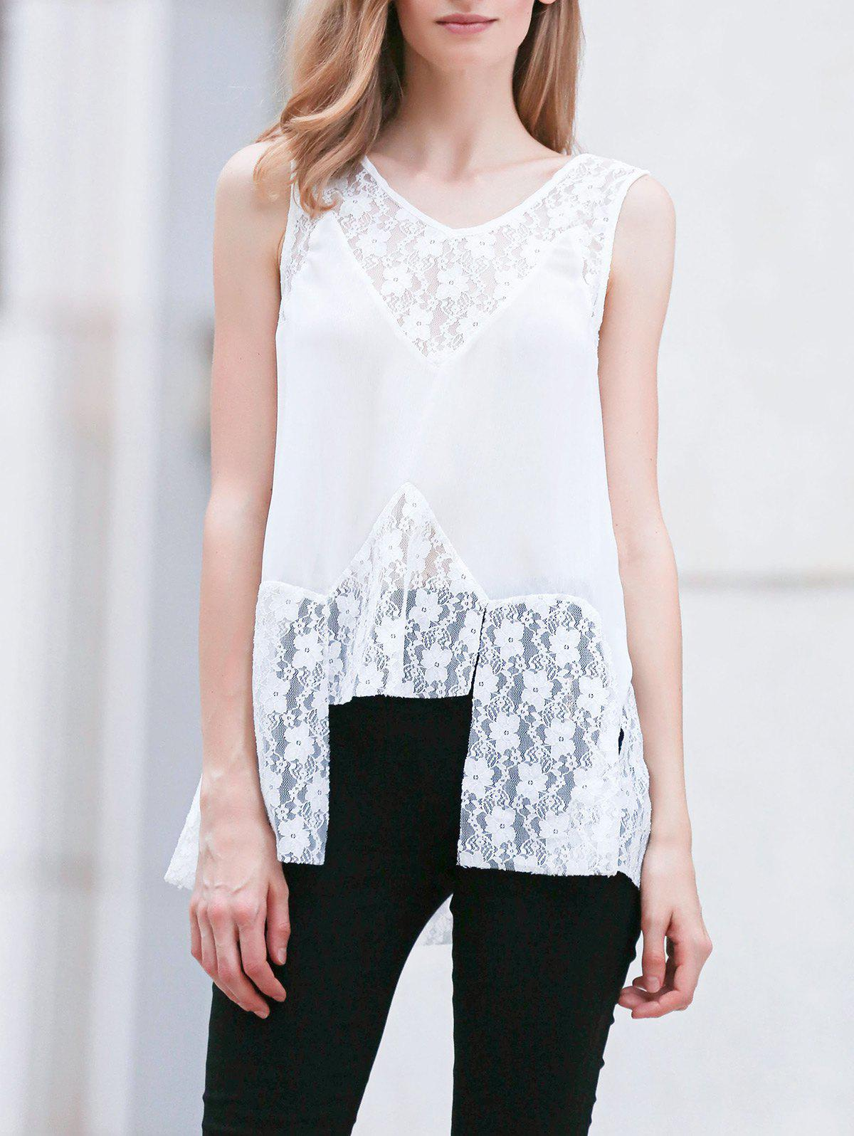 Lace Splice V Neck Sleeveless White Blouse 177344504