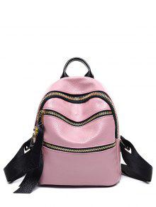 Buy Zippers Solid Color PU Leather Satchel - PINK
