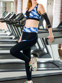 Impreso Sujetador De Los Deportes Y Pantalón Ajustado Traje Yoga - Azul M