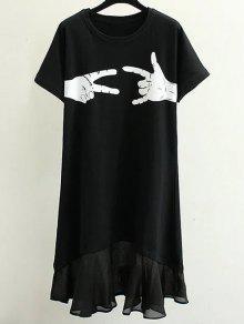 فستان قصيرة الأكمام دائرة الرقبة طباعة  - أسود M