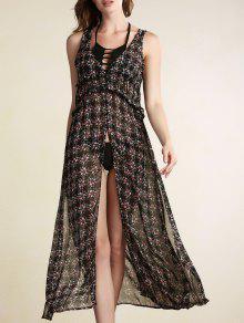 Tiny Flower Print V-Neck Sleeveless Chiffon Dress - Black L