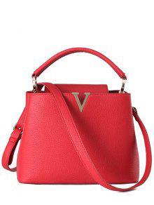 Buy Letter V Solid Color Tote Bag - RED