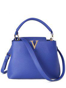 Buy Letter V Solid Color Tote Bag - BLUE
