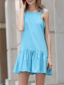 Heart-Shaped Hollow Tank Dress - Light Blue M