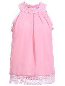 Buy Pink Chiffon Round Neck Sleeveless Tank Top - PINK L