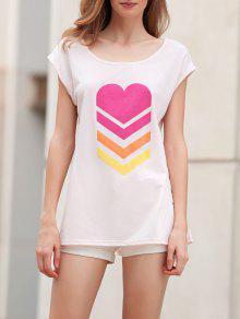 Impresión Del Corazón Con Cuello Redondo De Manga Corta De La Camiseta - Rosado Claro Xl