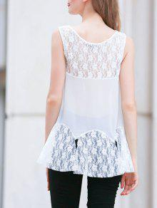 30896bbbffb09a 34% OFF] 2019 Lace Panel V Neck Sleeveless White Blouse In WHITE | ZAFUL