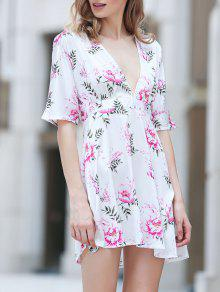 Flower Print Plunging Neck Half Sleeve Dress - M