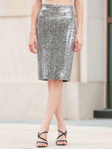 Sequins Packet Buttock Bodycon Skirt - Silver L