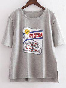 Character Round Neck Short Sleeve Loose Tee - Light Gray M