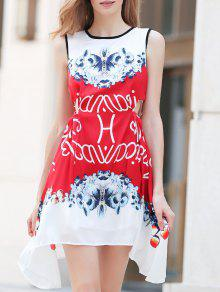 Floral Round Neck Sleeveless A Line Dress - Red L