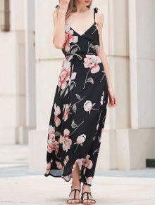 Spaghetti Strap Low Cut Floral Maxi Dress - Black S