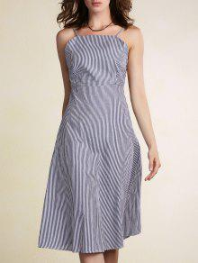 Rayures Fines Bretelles Backless Robe - Bleu Clair M