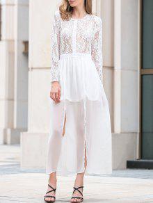 Col Haut En Dentelle Slit Ronde Spliced Maxi Dress - Blanc 2xl
