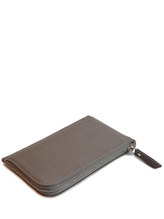hot Zip Solid Color PU Leather Coin Purse - GRAY
