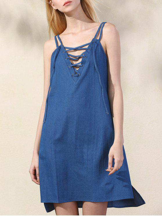 fancy Lace Up Spaghetti Straps Chambray Dress - BLUE L