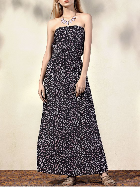 hot Printed Fitting Bandeau Sleeveless Maxi Dress - BLACK M