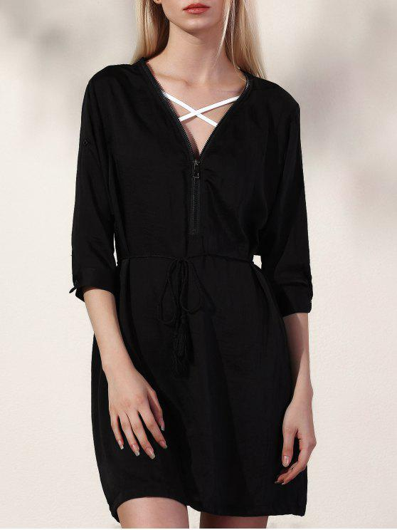 La mitad de vestir de manga negro con cuello en V - Negro M