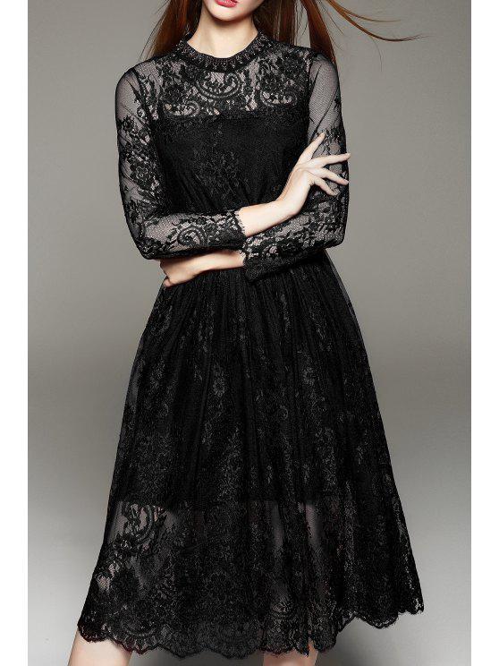 فستان دانتيل دائرة الرقبة طويلة الأكمام - أسود M
