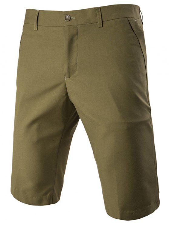 womens Casual Straight Legs Zip Fly Solid Color Shorts For Men - ARMY GREEN L