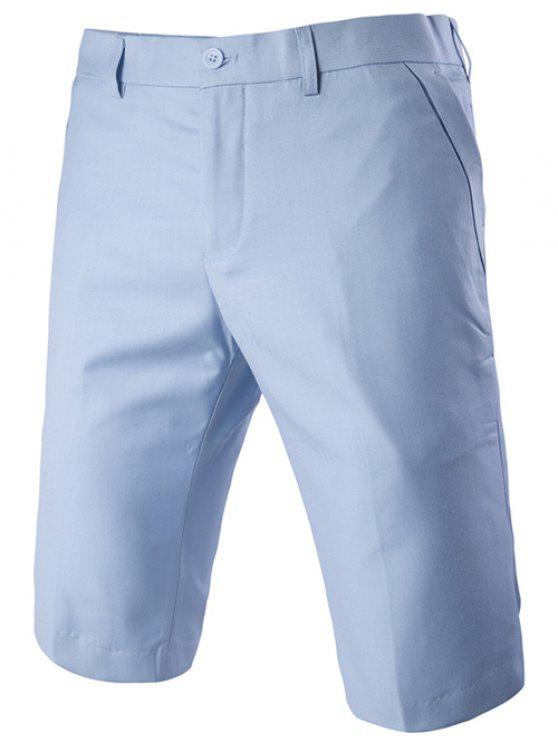 ladies Casual Straight Legs Zip Fly Solid Color Shorts For Men - LAKE BLUE XL