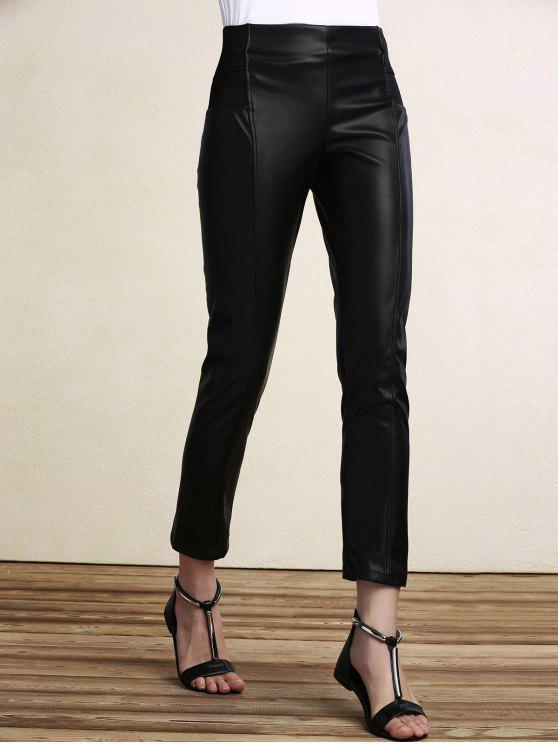 ladies Black PU Leather Pencil Pants - BLACK M