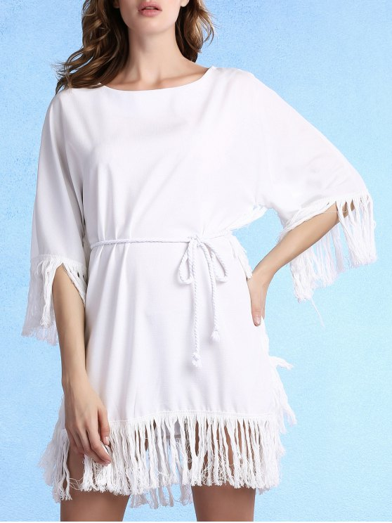 unique Tassels Spliced Round Collar 3/4 Sleeve Dress - WHITE M