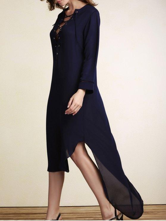 women's Lace-Up Irregular Hem Maxi Dress - PURPLISH BLUE S