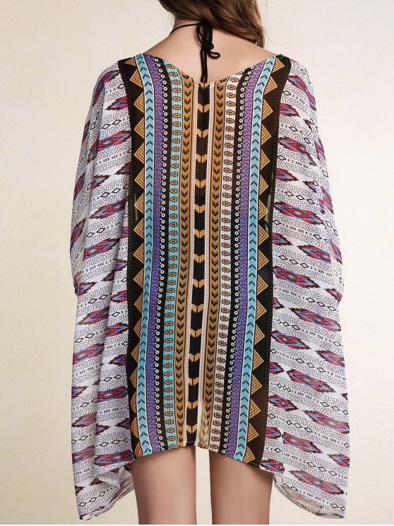 women Printed Batwing Sleeve Cover Up - COLORMIX ONE SIZE(FIT SIZE XS TO M)