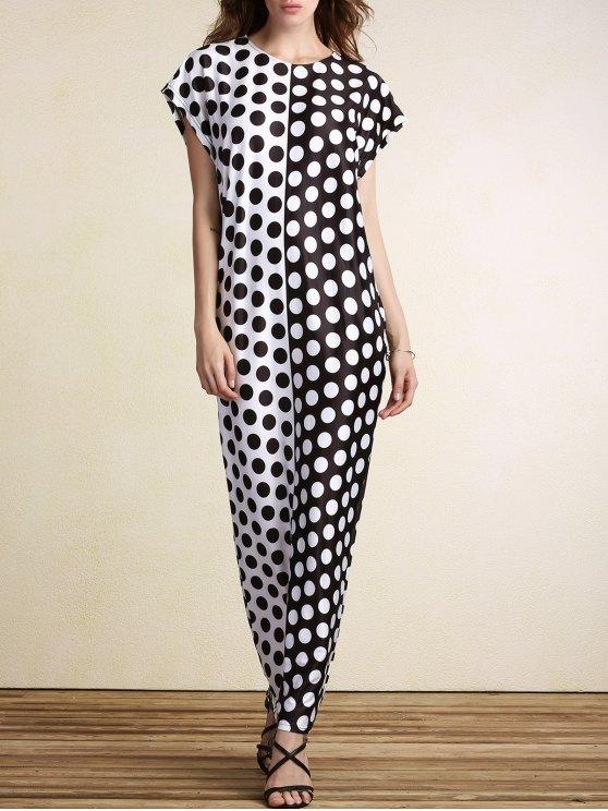 daa93fed53f4 Polka Dot Print Round Neck Short Sleeve Maxi Dress - White And Black 2xl